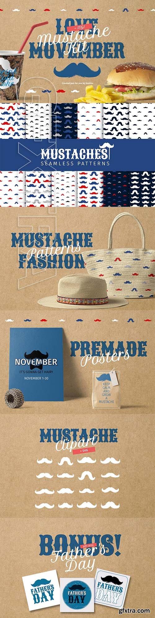 CreativeMarket - Movember Style Mustache Kit 2857949