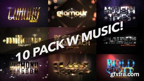 Videohive - 4K Luxury 10 Logo Text Intro Pack - 22031438