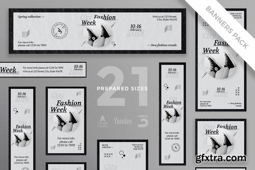 Fashion Week Business Card, Flyer and Poster, Social Media and Banner Pack Templates