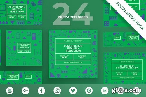 Industry Show Business Card, Flyer and Poster, Social Media and Banner Pack Templates