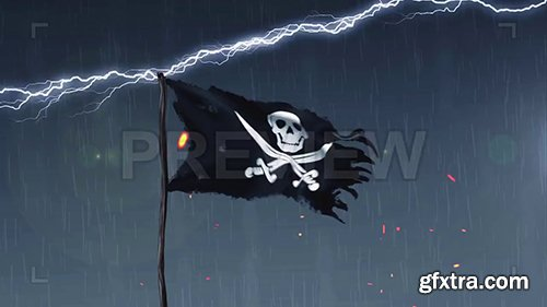 Pirate Flag Amid A Thunderstorm 106414