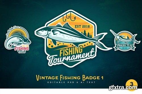Vintage Fishing PSD & AI Logo Badges Vol 1