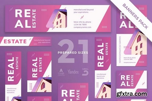 Real Estate Agency Business Card, Flyer and Poster, Social Media and Banner Pack Templates
