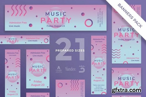 Music Party Social Media and Banner Pack Templates