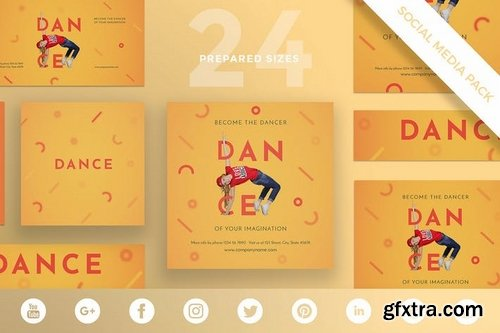 Dancing School Social Media and Banner Pack Templates