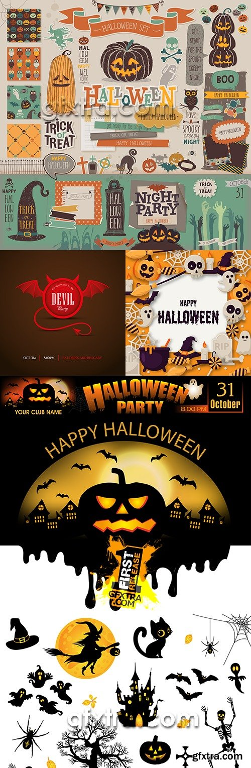 Halloween holiday party elements design collection 13