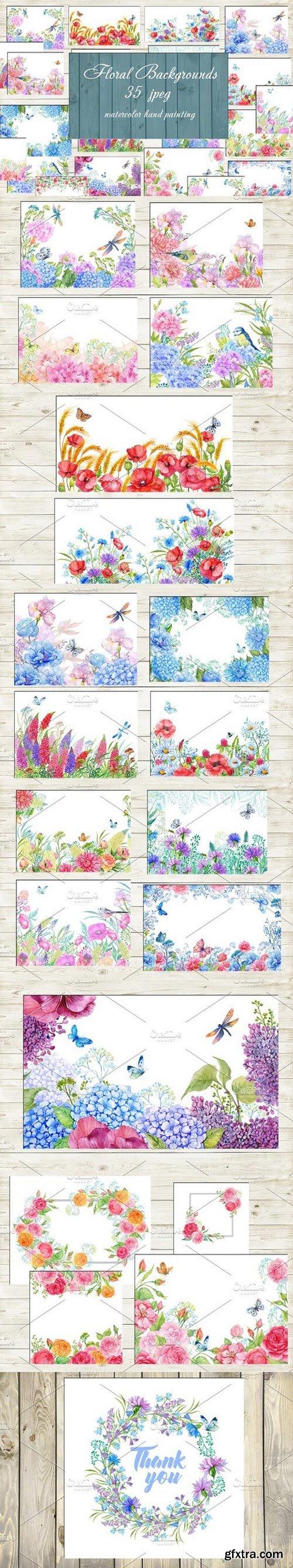 CM - floral backgrounds watercolor 1448362