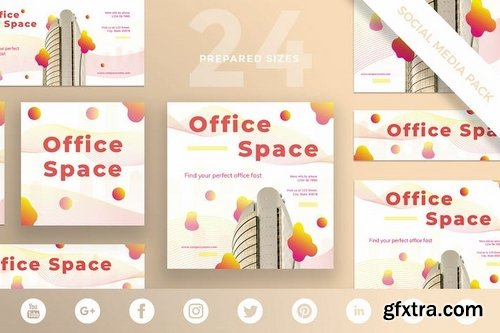 Office Space Social Media Banner Pack Templates