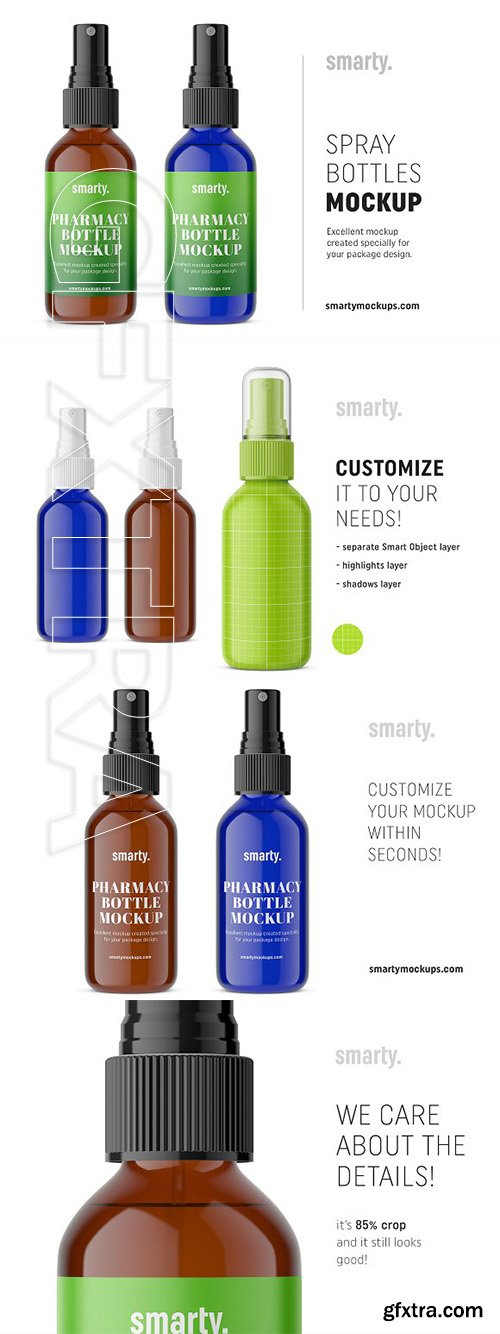 CreativeMarket - Blue amber spray bottle mockup 2934325