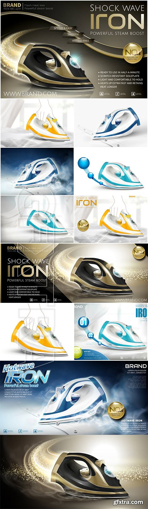 Iron in vector 3d illustration, steam iron advertisement