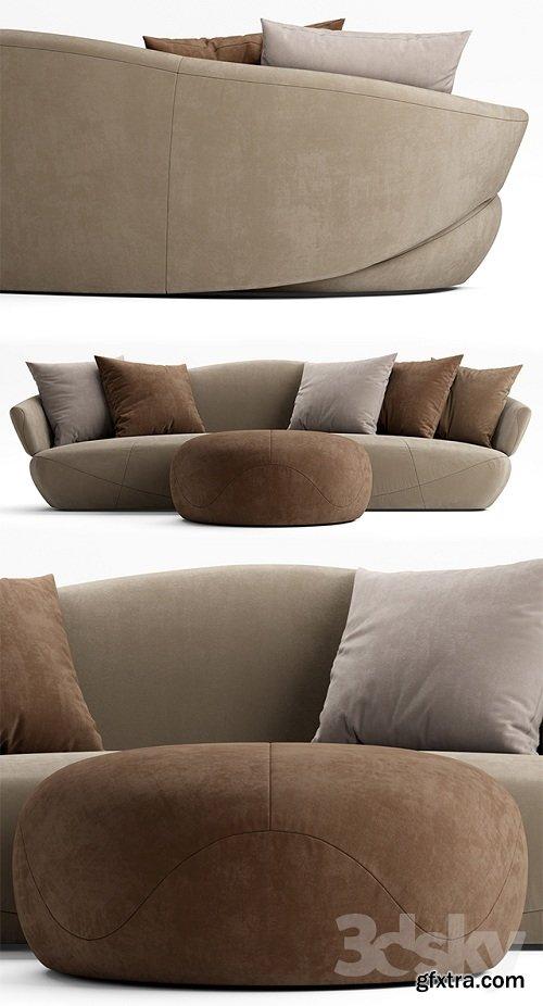 Sofa and pouf Giorgetti SOLEMYIDAESOLEMYIDAE
