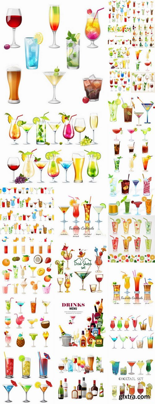 Cocktail drink cup glass bottle vector image 25 EPS