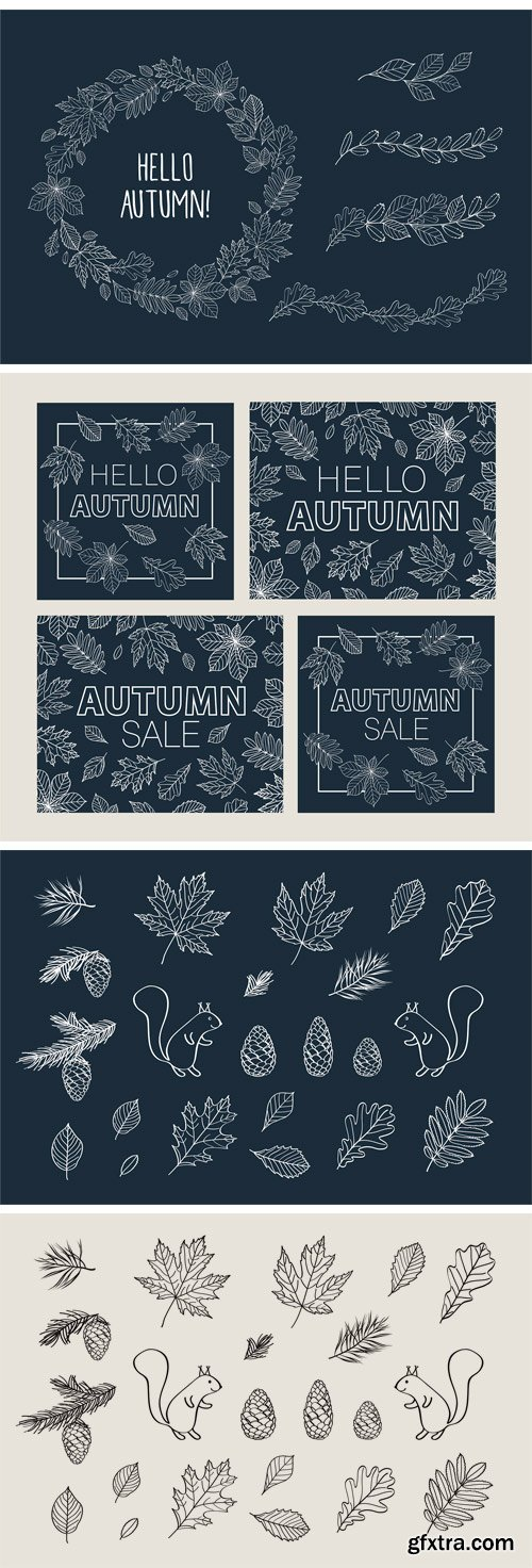 CM - Hand Drawn Leaves of Different Trees 574775