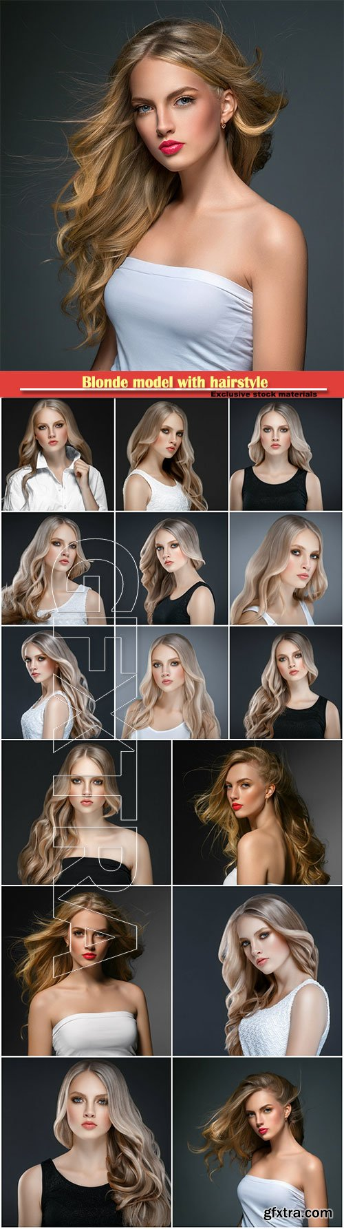 Blonde model with hairstyle over black background
