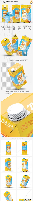 GraphicRiver - 4 Types Milk Juice Cartons Bundle Mock-Up 22600320