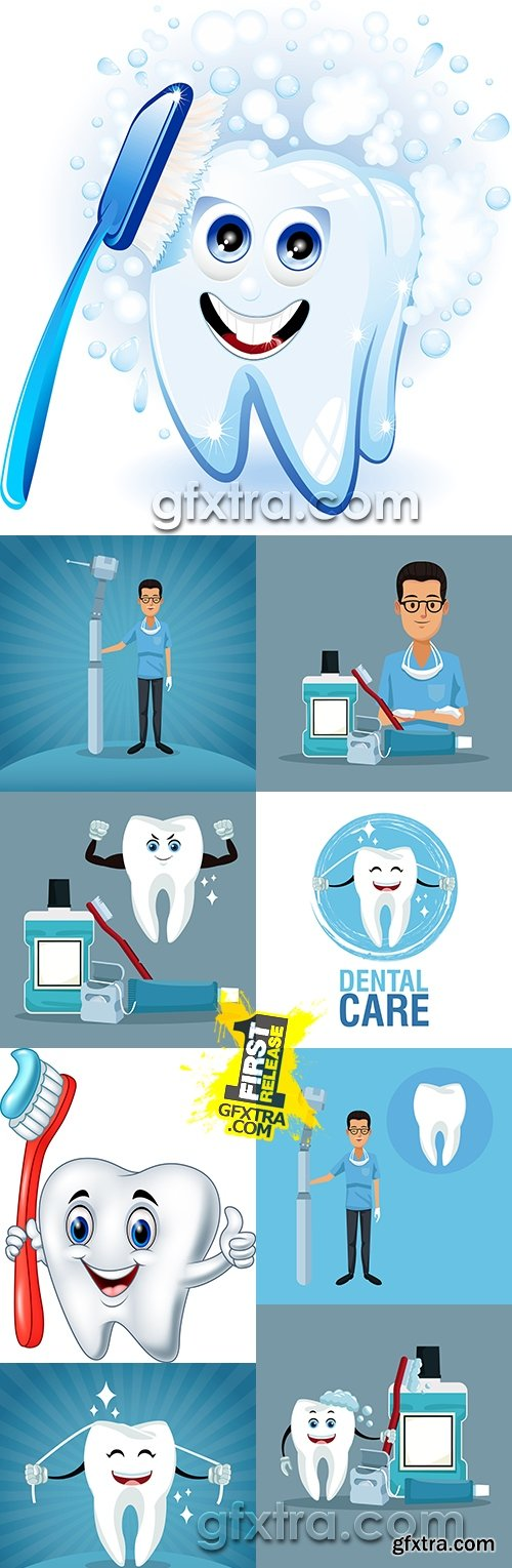 Stomatology professional dentist dental care big collection