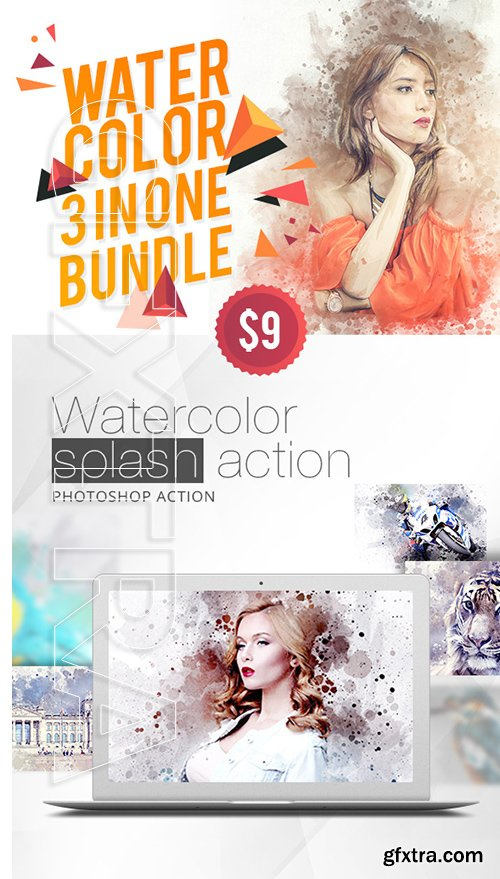 GraphicRiver - WaterColor 3 IN 1 Bundle Photoshop Action 22618267