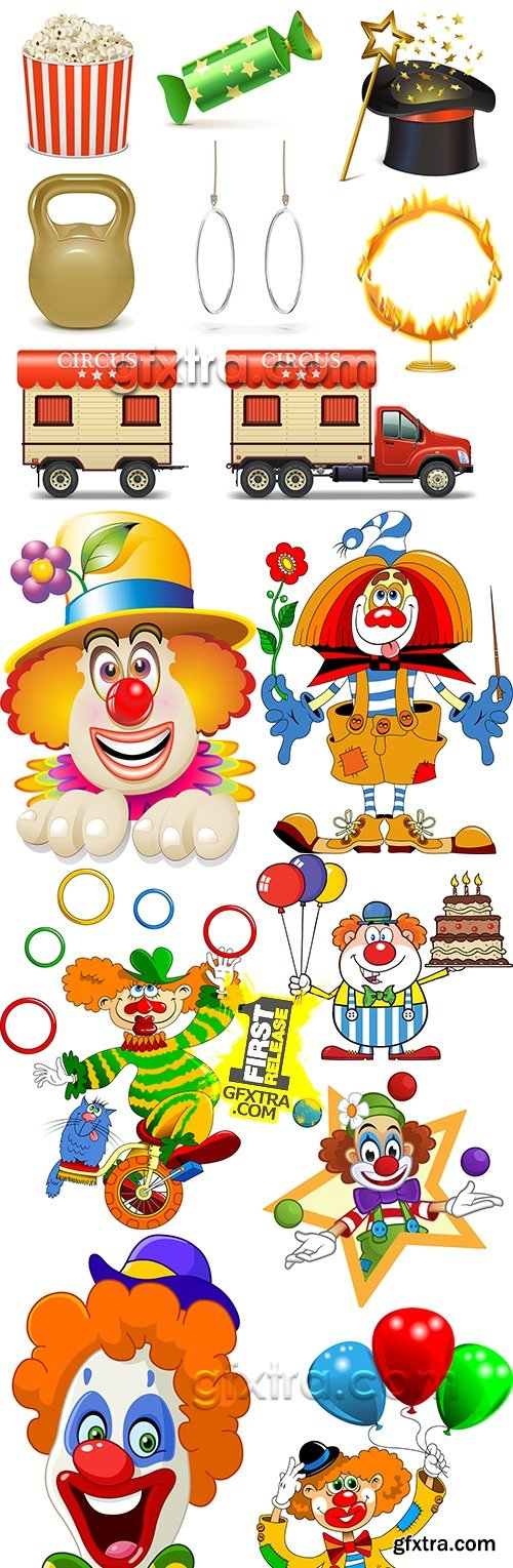 Cheerful clown for Birthday with balloons collection