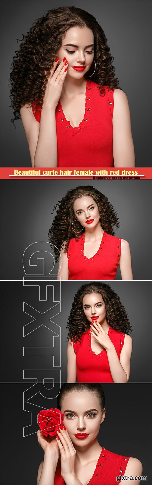 Beautiful curle hair female with red dress