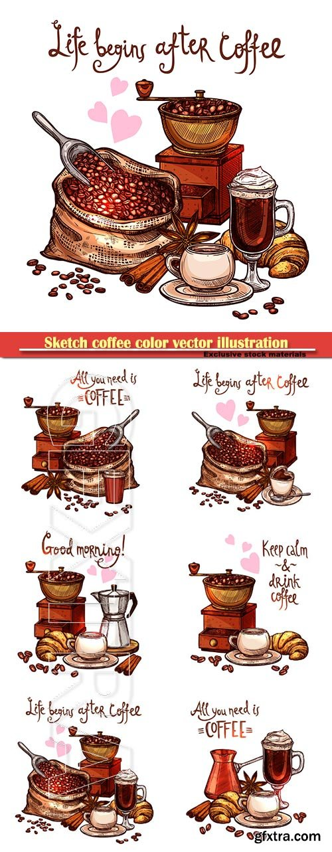 Sketch coffee color vector illustration