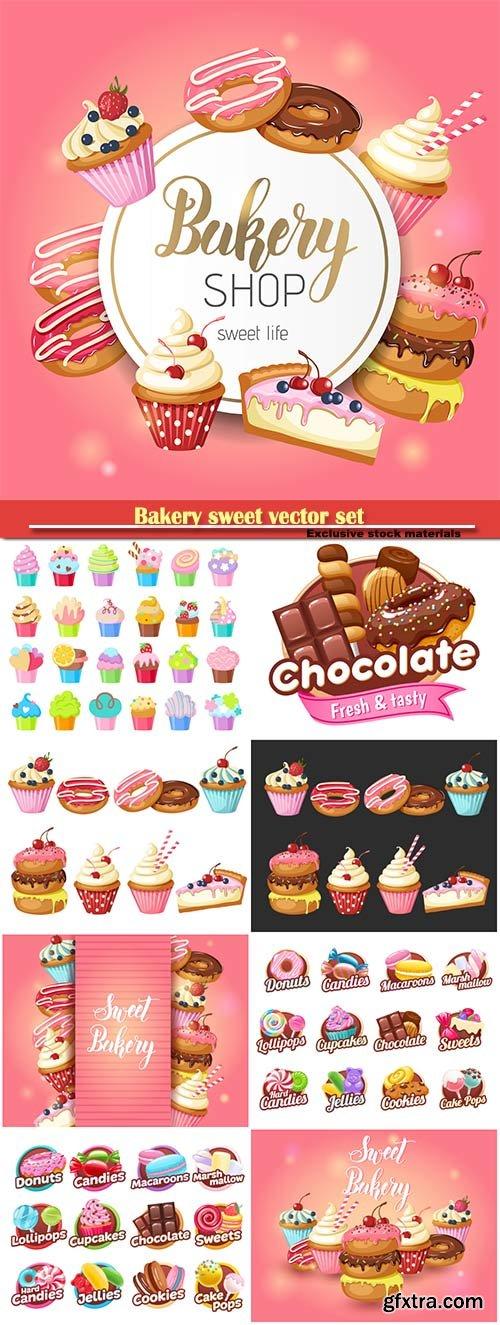 Bakery sweet vector set