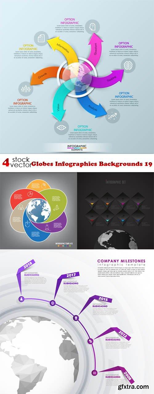 Vectors - Globes Infographics Backgrounds 19