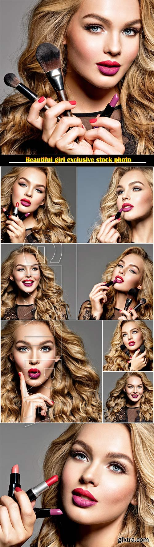 Attractive fashion model with long curly hair and fashion makeup