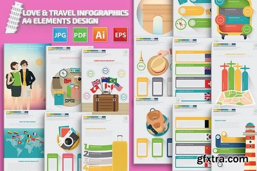 Love & Travel Infographics A4 Template Design