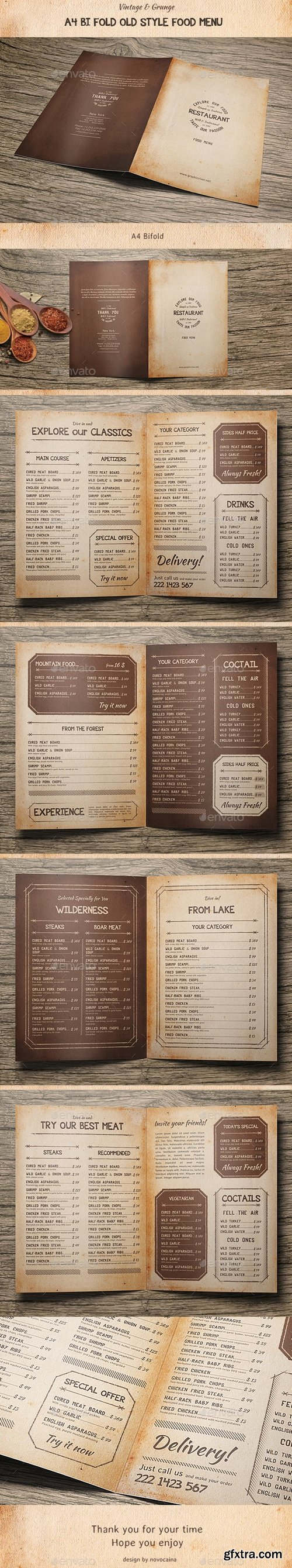 Graphicriver - Old Style A4 Bifold Food Menu 15956806