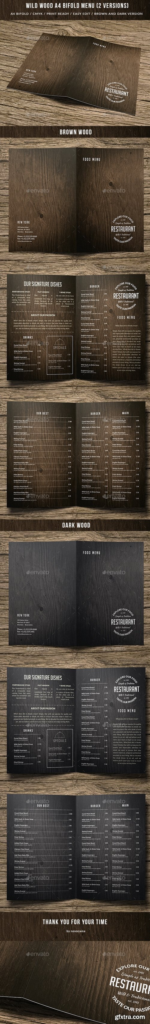 Graphicriver - Wild Wood A4 Bifold Menu - 2 Color Versions 15645295
