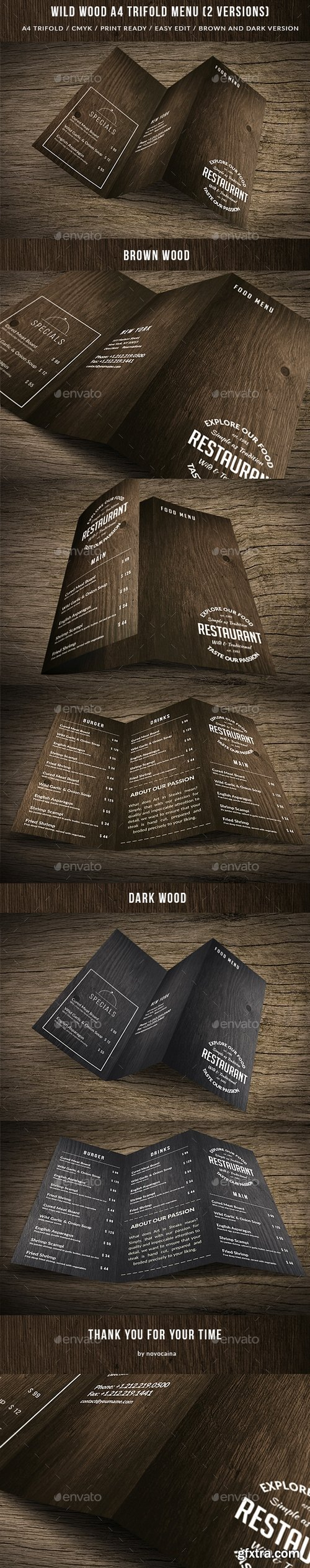 Graphicriver - Wild Wood A4 TriFold Menu - 2 Versions 15647677