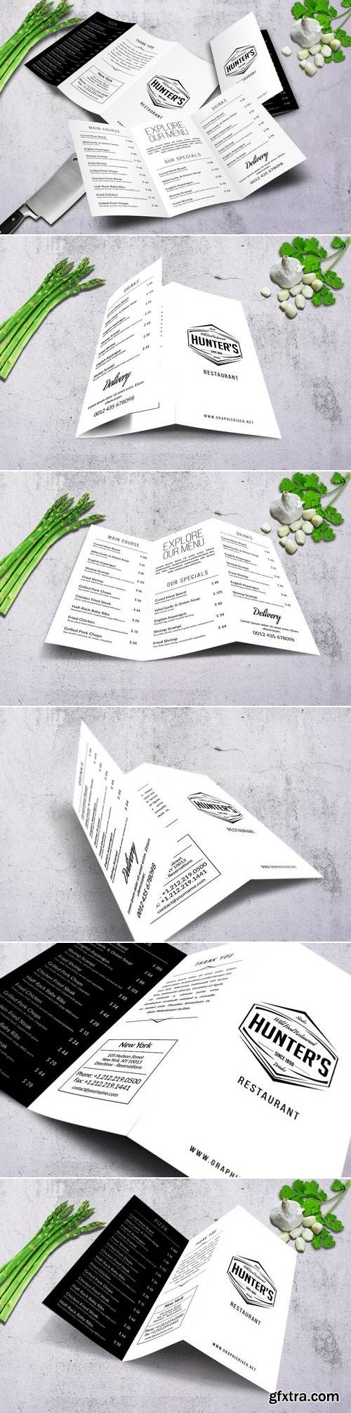 Minimal A4 Trifold Food Menu Design