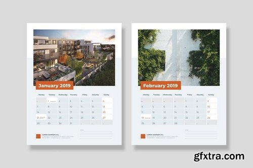 2019 Minimal Calendar For Company, Agency, Busines