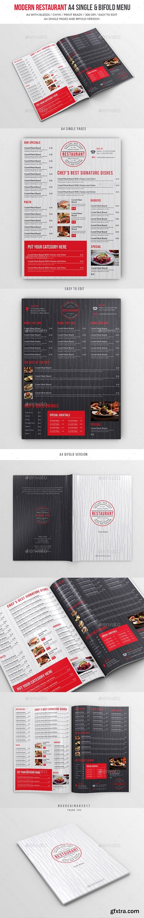 Graphicriver - Modern Restaurant A4 Single And Bifold Menu 19268726