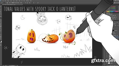 Understanding and Painting Tonal Values : Jack O Lanterns in PS!