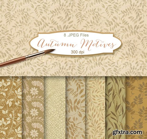 Background Textures with Floral Ornament - Autumn Motives