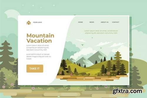 Mountain Vacation Landing Page Illustration