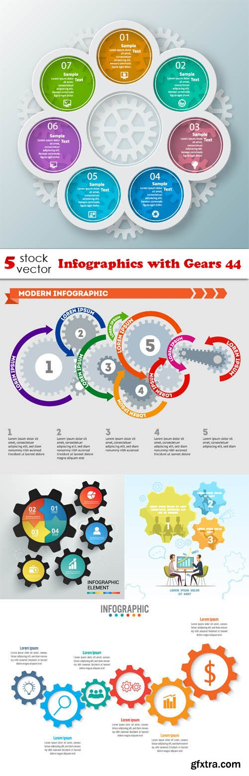 Vectors - Infographics with Gears 44