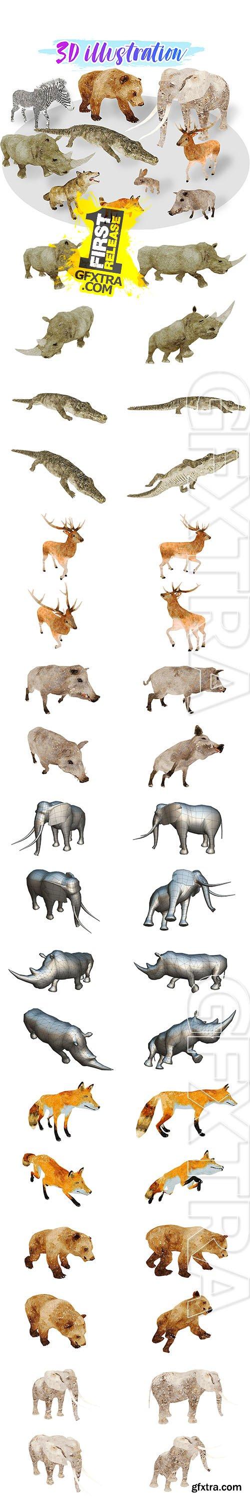 Cubebrush - Africa Animal Illustration Animated Part 1