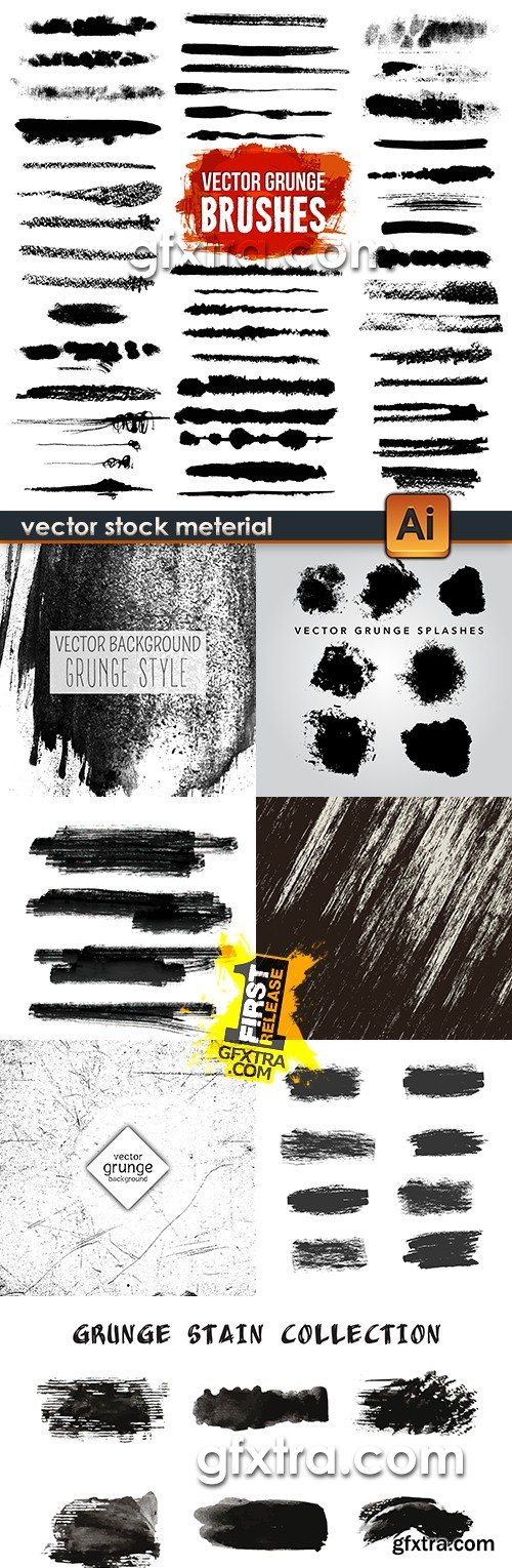 Grunge collection splashes of ink and black paint 5