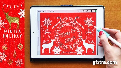 Winter Holiday Illustrations on Your iPad: Digital and Printable Art for the Holidays + 26 Stamps
