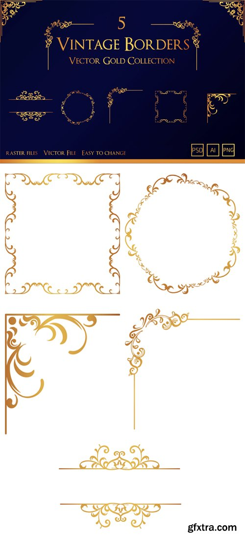 5 Vintage Borders - Vector Gold Collection [Ai/PSD/PNG]