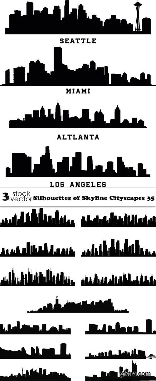 Vectors - Silhouettes of Skyline Cityscapes 35