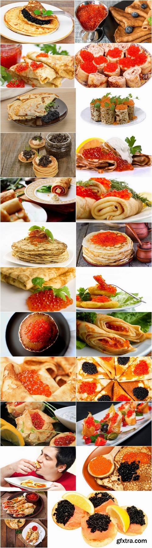 Pancake with red caviar black 25 HQ Jpeg