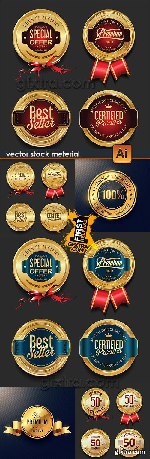 Luxury gold collection badges and label decorative