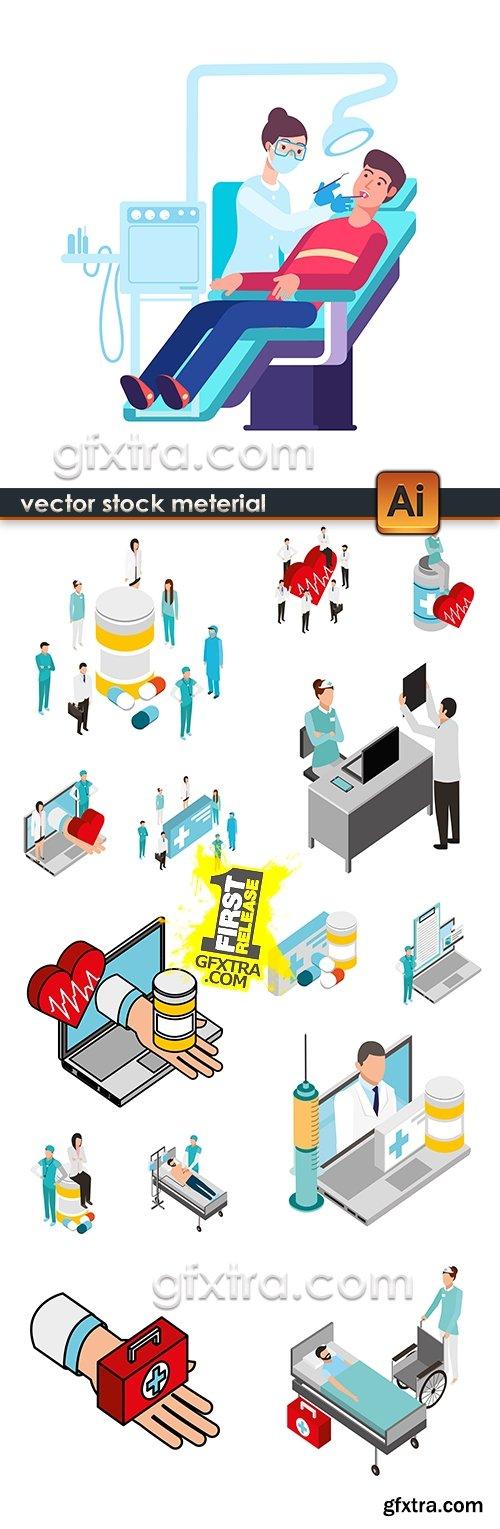 Medicine professional dignostic and equipment illustration