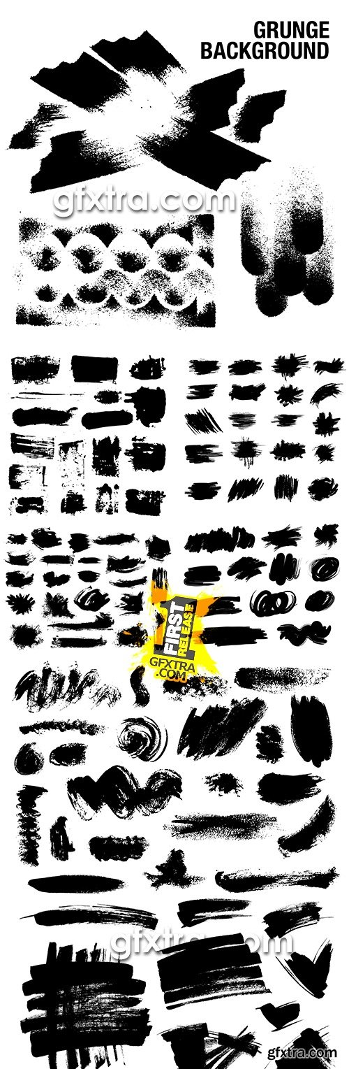 Grunge collection splashes of ink and black paint 6