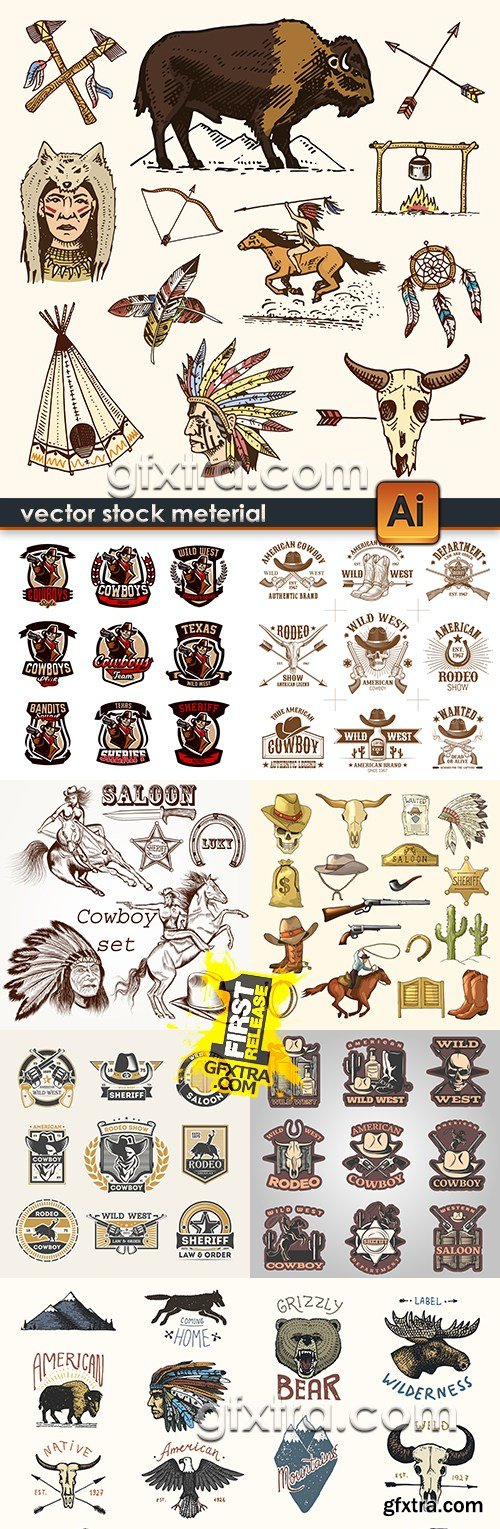 Wild West emblem cowboy and Indian traditional design