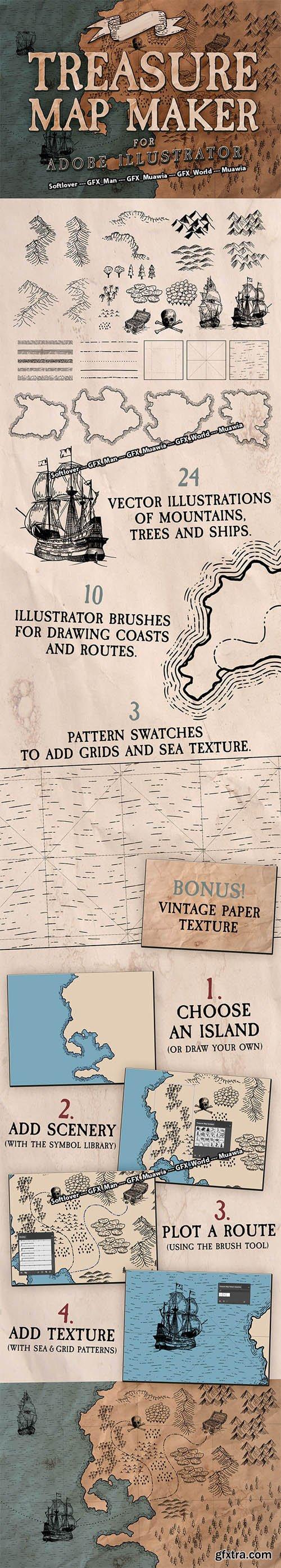 Treasure Map Maker for Adobe Illustrator [Ai/EPS]