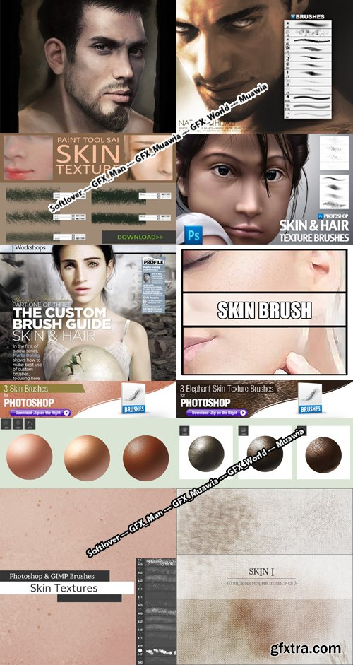 Skin Textures Photoshop Brushes Collection [ABR/PSD/TPL]